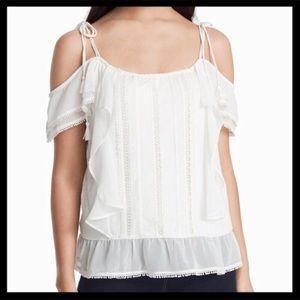 WHBM Lace Cold Shoulder Blouse